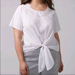 Lane Bryant Embroidered Tie Top